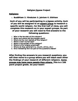 World Religion Jigsaw Project