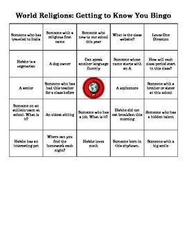 World Religions Ice-Breaker Bingo