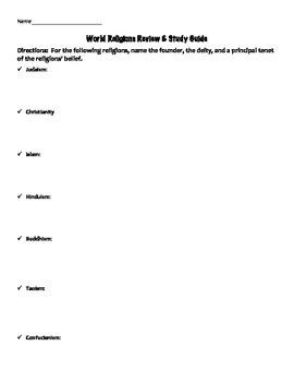 World Religions Study Guide