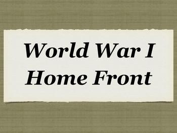World War 1 Home Front Power Point