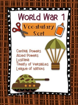 World War 1 Vocabulary Word Sort