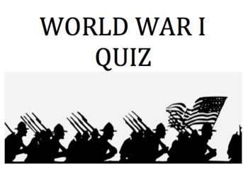 World War 1 quiz (matching)