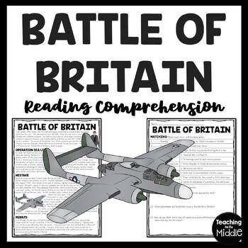 World War 2- Battle of Britain Reading Comprehension Worksheet