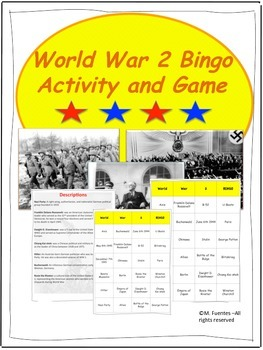 World War 2 - Map Activities and Bingo Game BUNDLE