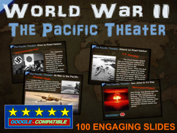 World War 2 (WWII) PACIFIC THEATER 100-slide PPT w/ note h