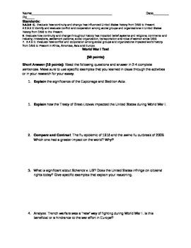 World War I 1 College Prep short answer essay test exam
