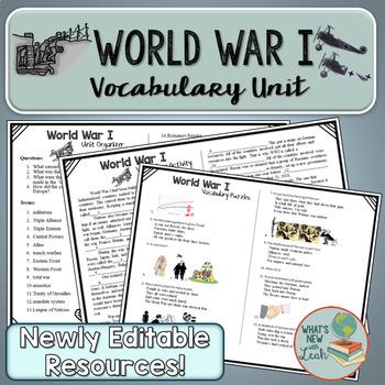World War I Complete Vocabulary Unit