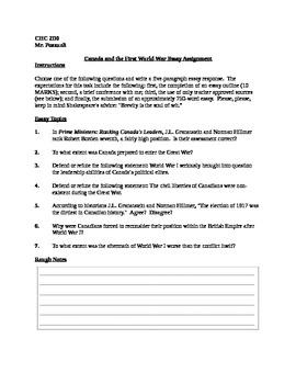 World War I Essay Topics (Academic Canadian History)