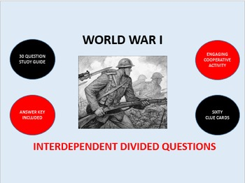 World War I: Interdependent Divided Questions Activity