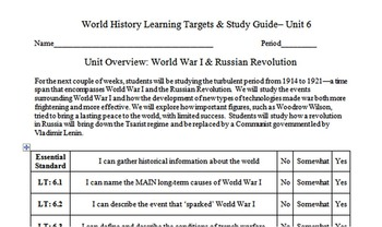 World War I Learning Targets, Study Guide, & Essential Standards