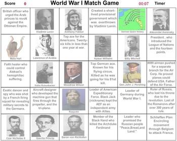 World War I Match Game - Bill Burton