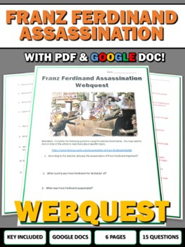 World War I Outbreak - Webquest with Key (Assassination of