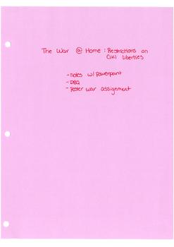 World War I Unit Plan Part 3