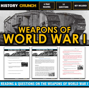 World War I Weapons - Reading, Questions and Key (Gas, Tan