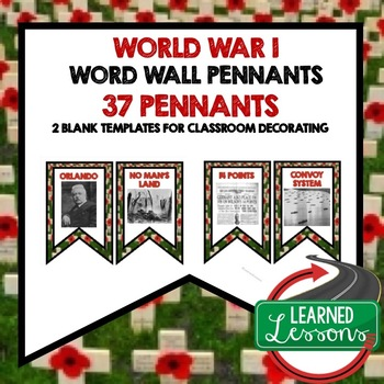 World War I Word Wall Pennants (American History)