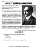 World War I and German-American Loyalty Speech Analysis Worksheet