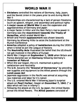World War II review sheet