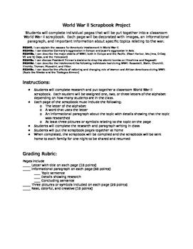 World War II Class Scrapbook and Writing Project - SS5H6
