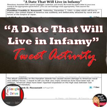 "World War II: FDR's Speech, ""A Date That Will Live in Infa"