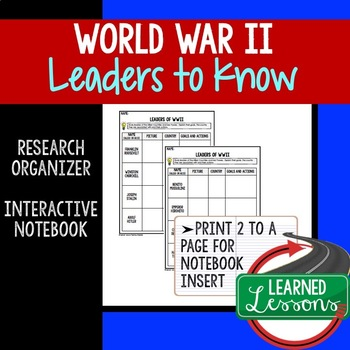 World War II Leaders Research Graphic Organizer