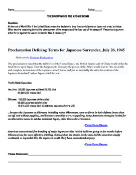 World War II Use of Atomic Bomb- Writing Assignment/Prompt