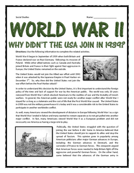 World War II - Why Didn't the USA Join WWII in 1939?  Read