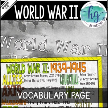 World War II (World War 2) Coloring Page and Review Activity