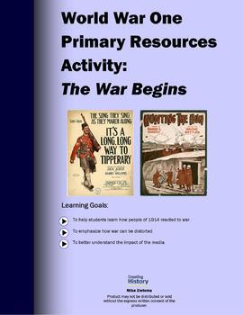 World War One Primary Source Activity: The War Begins