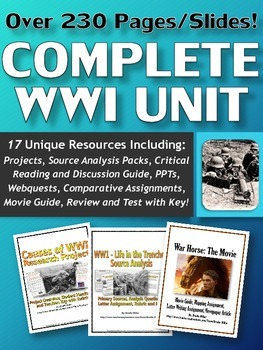 World War One (WWI) - Complete Unit (Projects, PPT's, Webq