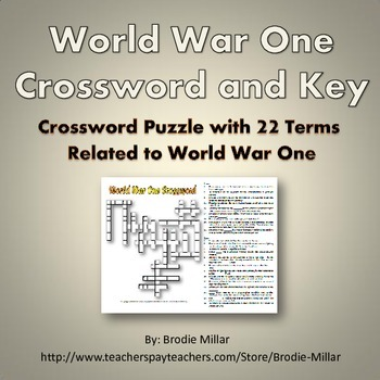 World War One (WWI) - Crossword Puzzle and Key (22 Terms a