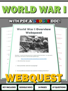 World War One - Webquest with Key (History.com)