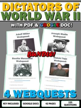World War Two Dictators (WWII) Webquest Bundle - Hitler, S