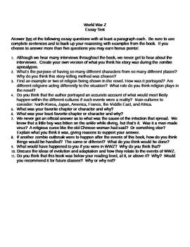 World War Z Essay Test