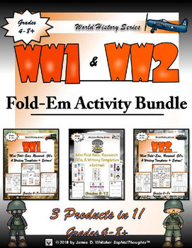 World Wars Interactive Mini Research Fold-Ems Activity Bundle