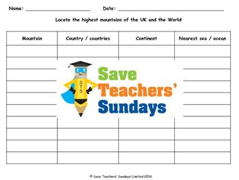World mountains table (using an atlas) Lesson plan, Instru