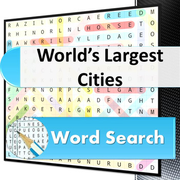 World's Largest Cities word search puzzle