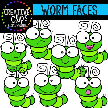 Worm Faces {Creative Clips Clipart}