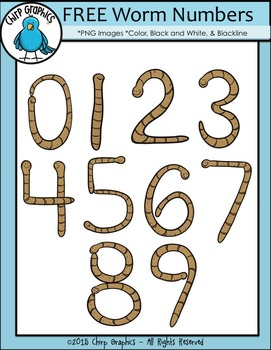 Worm Numbers Clip Art Set - Chirp Graphics