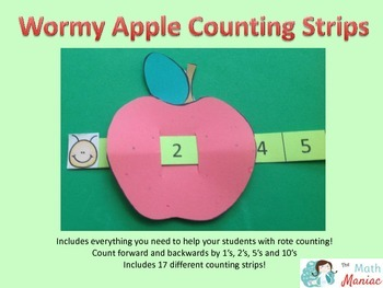 Wormy Apple Counting Strips: Counting by 1's, 2's, 5's 10'