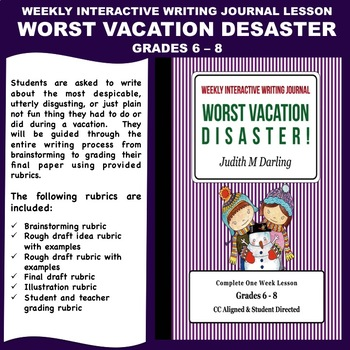 Interactive Weekly Writing Notebook Lesson - Worst Vacatio