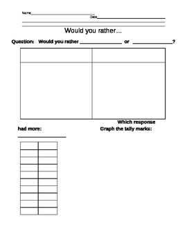 """""""Would you rather..."""" tally mark worksheet"""