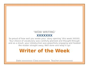 Wow Writing Certificate Template