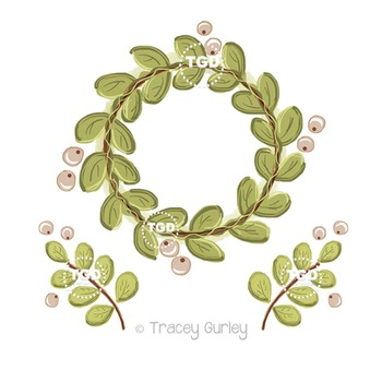 Wreath with Berries and Greenery set Printable Tracey Gurl