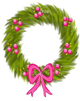 Wreath with Pink Berries and Pink Bow clip art Printable T