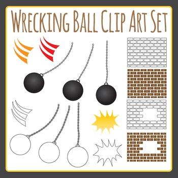 Wrecking Ball Clip Art / Demolishing Clipart Set for Comme