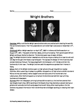 Wright Brothers - First in Flight - facts info Questions V