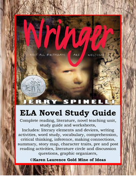 Wringer by Jerry Spinelli ELA Novel Literature Study Guide