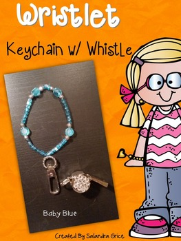 Wristlet Keychain with Rhinestone Whistle- Baby Blue