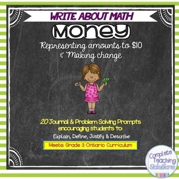 Write About Math Journal Prompts: Money  (Gr.3 Ontario Mat