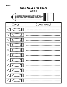 Write Around the Room - Color Words K or 1st